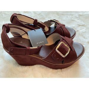 NWT Zara Sandals Womens Sz 8 Brown Suede Platform